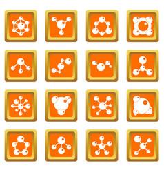 molecule icons set orange vector image