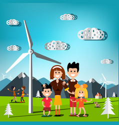 people on field with windmills and mountains on vector image