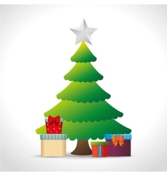 pine tree christmas gifts star white background vector image