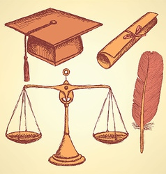 Sketch justice and education set vector image