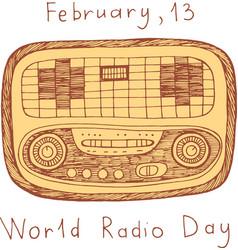 world radio day poster doodle scribble cartoon vector image vector image