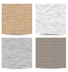 brick wall seamless pattern set vector image vector image