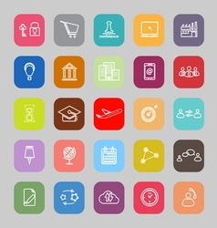 Business connection line flat icons vector