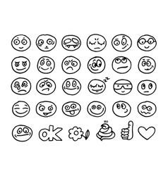 emoticon doodles set vector image vector image