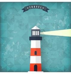Flat lighthouse on old vintage background vector image