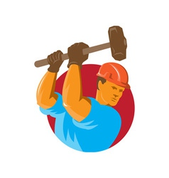 construction worker with sledgehammer vector image vector image