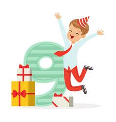 happy nine year old boy celebrating his birthday vector image