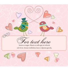 love birds with frame vector image vector image