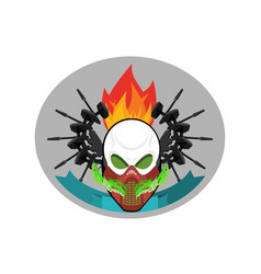 military emblem paintball logo army sign skull in vector image vector image