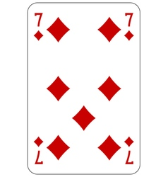 Poker playing card 7 diamond vector image vector image