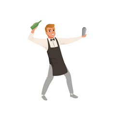smiling bartender mixing a cocktail drink in vector image