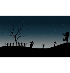 Zombie walking in tomb halloween vector image