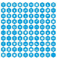 100 school icons set blue vector image