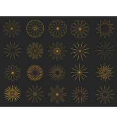 Abstract golden Vintage Sunbusrt elements set vector