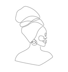 african woman face in one line drawing portrait vector image