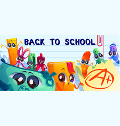 back to school cartoon banner with student stuff vector image