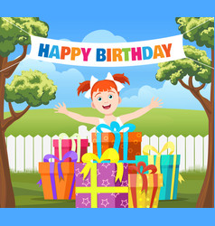 Backyard birthday party scene vector