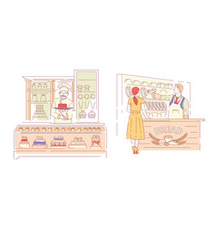 bakery shop bread and cakes pastry products vendor vector image