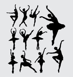 Ballet female dancer silhouettes vector image