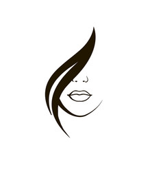 beautiful girl logo hair vector image