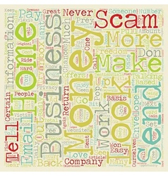 Beware Of Home Business Scams text background vector
