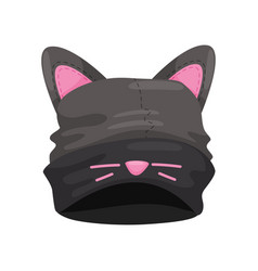 Black hat with cat ears on a white background vector