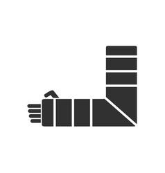 Black icon on white background broken arm vector