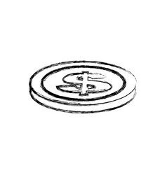 Blurred silhouette coin in horizontal position vector