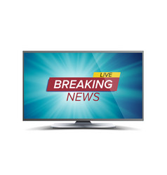 breaking news blue tv screen world global vector image vector image
