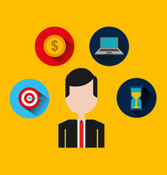 businessman with set icons vector image