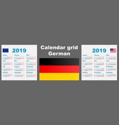 calendar deutsche german 2019 set grid wall iso vector image