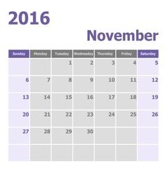 Calendar November 2016 week starts from Sunday vector image