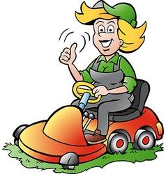 Cartoon a handy gardener woman riding on a vector