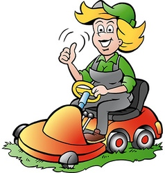 Cartoon of a Handy Gardener Woman riding on a vector image