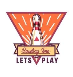 Color vintage bowling emblem vector