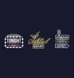 colorful glowing neon signboards and retro street vector image