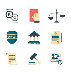 Copyright icons business company legal law vector