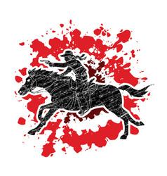 cowboy riding horseaiming a gun vector image