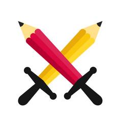 Cross pencils battle vector