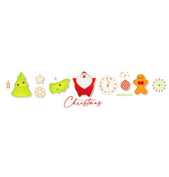 cute christmas elements set with santa claus fir vector image