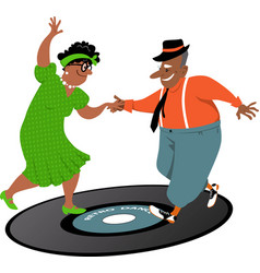 dancing on a record vector image