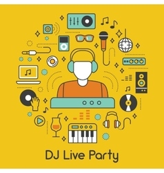 DJ Music Party Line Art Thin Icons Set vector image