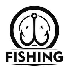 Double fish hook logo simple style vector