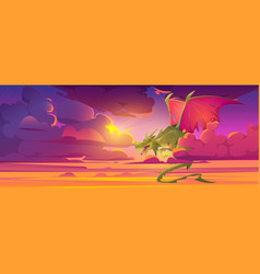 Dragon in cloudy sky fantastic magic character vector