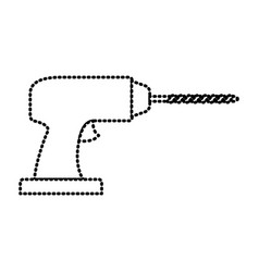 drill tool icon monochrome dotted silhouette vector image