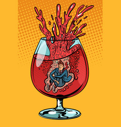 Drunkard wine man in a glass of alcohol vector