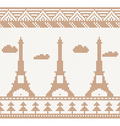 Eiffel tower seamless knitted pattern vector
