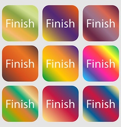 Finish sign icon Power button Nine buttons with vector