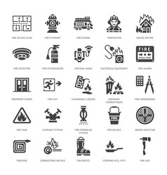 Firefighting fire safety equipment flat glyph vector