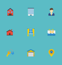 Flat icons pin trinket broker and other vector